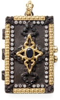 Armenta Old World 18K Yellow Gold, Sterling Silver & 1.78 Total Ct. Black & Champagne Diamond Carved Rectangle Locket Enhancer