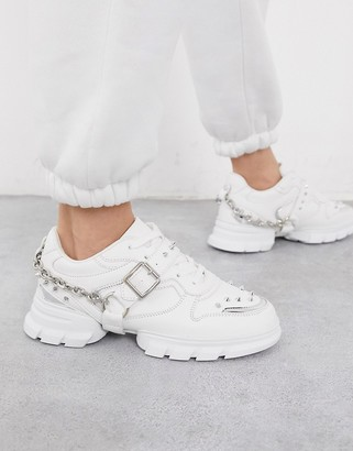 ASOS DESIGN Defiant chunky studded sneakers with chain in white