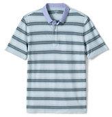 Classic Men's Tall Stripe Micro Mesh Woven Collar Polo Shirt-Light Blue Brook Stripe