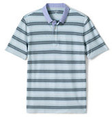 Lands' End Men's Stripe Micro Mesh Woven Collar Polo Shirt-White