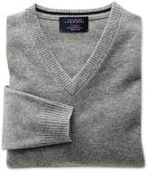 Silver Grey Cashmere V-neck Jumper Size Xs By Charles Tyrwhitt