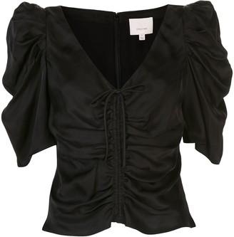 Cinq à Sept Betty ruched cropped blouse