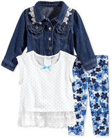 Nannette 3-Pc. Denim Jacket, Top & Leggings Set, Baby Girls (0-24 months)