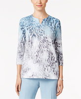 Alfred Dunner Ombré Animal-Print Top