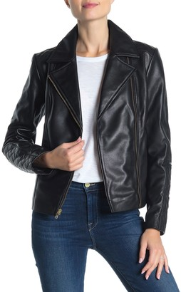 Cole Haan Quilted Lambskin Leather Moto Jacket