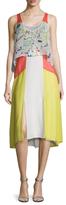 BCBGMAXAZRIA Agneta Silk Colorblock Midi Dress