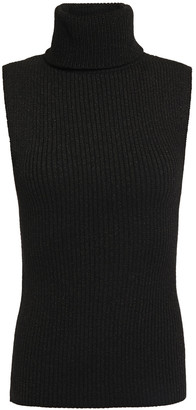 Alice + Olivia Metallic Ribbed Wool-blend Turtleneck Sweater