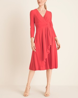 Eliza J Long-Sleeve Twist-Detail Wrap Midi Dress