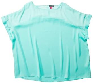 Vince Camuto Specialty Size Plus Size Short Sleeve Chiffon Yoke Charmeuse Blouse (Aqua Ice) Women's Clothing