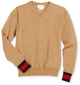 Gucci Wool V-Neck Pullover Sweater, Gray, Size 6-12