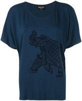 Emporio Armani elephant embroidered top - women - Polyamide/Spandex/Elastane/Viscose - 36