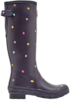 Joules Tall Printed Spot Rubber Wellington Boots, Grey