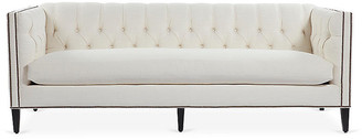 One Kings Lane Moreau Sofa - Ivory - frame, antique black; upholstery, white; nailheads, brass