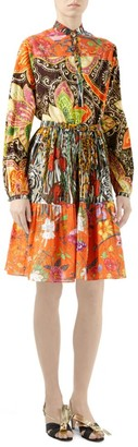 Gucci New India Print Cotton Long-Sleeve Dress