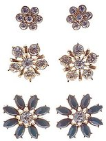 Charlotte Russe Faceted Stone & Rhinestone Flower Earrings - 3 Pack