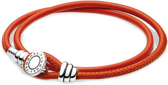 Pandora Charm Carrier Silver Cz Spicy Orange Double Leather Bracelet