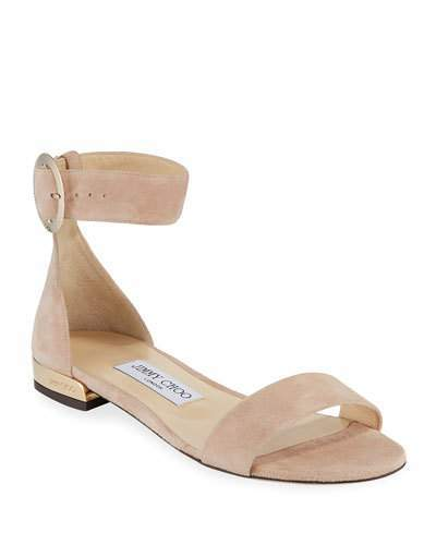Jimmy Choo Jaime Suede Ankle-Strap Flat Sandals