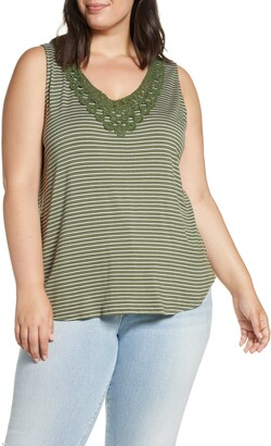 Loveappella Stripe Crochet V-Neck Tank Top