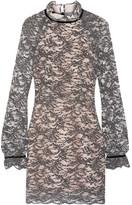 Rebecca Vallance Alexa Velvet-trimmed Corded Lace Mini Dress - Gray