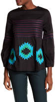 Cynthia Rowley Embroidered Belted Blouson Sleeve Top