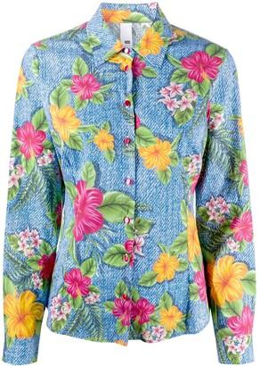 Ultràchic Long Sleeve Floral Print Denim Shirt