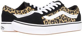 Vans Kids ComfyCush Old Skool (Little Kid) ((Leopard) Black/True White) Girl's Shoes