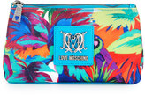 Love Moschino Jungle-Print Canvas Cosmetic Bag, White/Light Blue