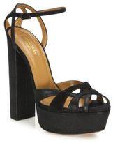 Aquazzura Luna Metallic Suede Platform Sandals
