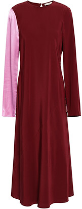 Tibi Hammered Satin-paneled Silk-crepe Midi Dress