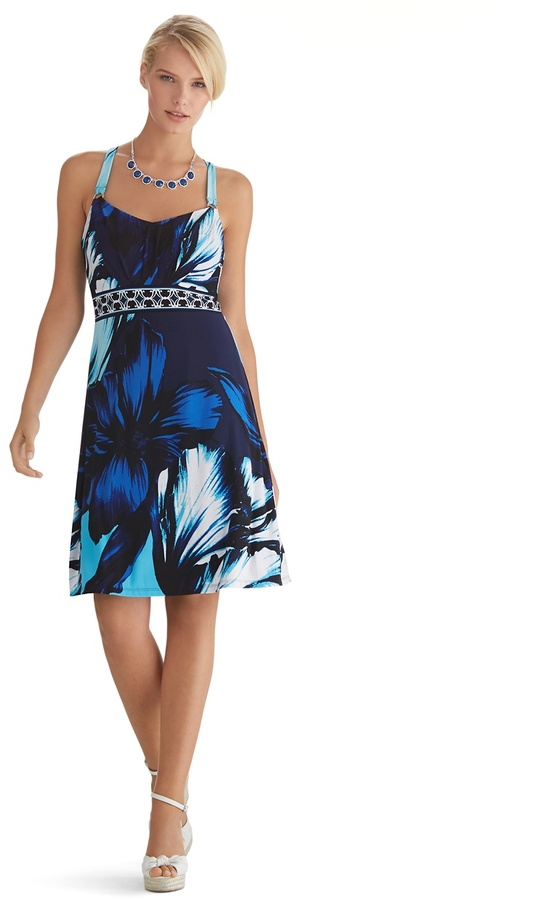 White House Black Market Sleeveless Floral Chemise Dress
