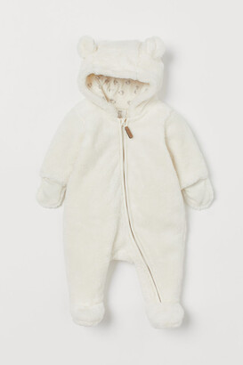 H&M Faux Shearling Overall - White