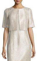 Kay Unger New York Embroidered-Shoulder Half-Sleeve Cropped Jacket