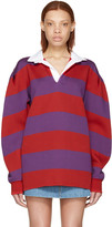 Marc Jacobs Red and Purple Rugby Polo