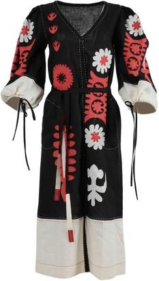 Multicolor Muscat Linen Midi Dress