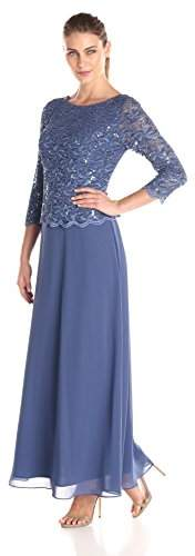 Alex Evenings Women's Standard Long Mock Dress with Full Skirt (Petite and Regular Sizes)