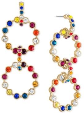 Rachel Roy Gold-Tone Multicolor Crystal & Stone Circle Drama Drop Earrings