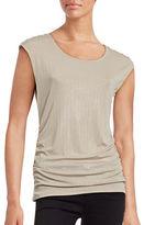 Calvin Klein Metallic Side-Ruched Shoulder Button Top