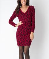 Yuka Paris Carmine & Black Geometric Kim V-Neck Dress