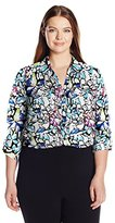 Notations Women's Plus Size Long Sleeve Printed Y Neck Button Down Blouse with Collar
