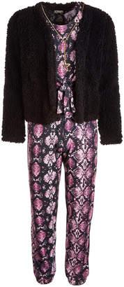 Belle Du Jour Big Girls 3-Pc. Animal-Print Jumpsuit, Fleece Jacket & Necklace Set