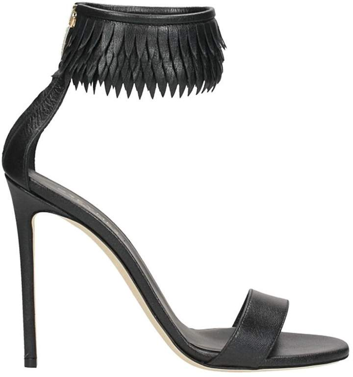 Grey Mer Black Laminated Leather Sandals
