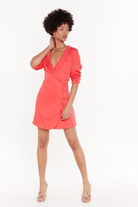 Nasty Gal Womens The Power of Me Satin Blazer Dress - Coral