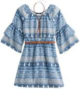 My Michelle Girls 7-16 Patterned Ruffle Sleeve Belted Dress with Bolo Necklace
