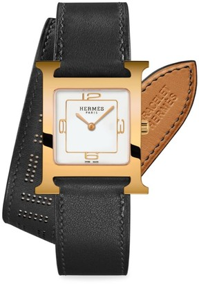 Hermes Heure H 26MM Rose Goldplated & Leather Double-Wrap Strap Watch