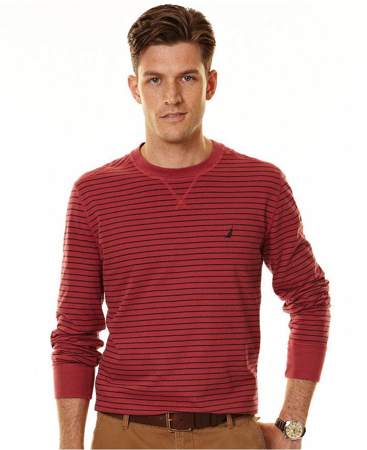 Nautica Sweater, Long Sleeve Stripe Crew Sweater