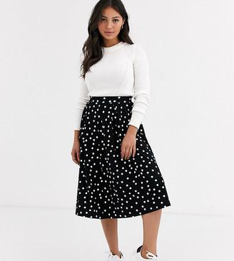 Asos DESIGN Petite midi skirt with box pleat in polka dot print-Multi