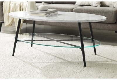 Thumbnail for your product : Mercury Row Evenson Coffee Table with Storage Table Top Color: Faux White Marble, Table Base Color: Black