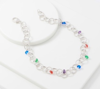 "Judith Ripka Verona Sterling Rainbow Gemstone 18"" Necklace"