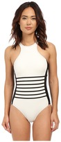 DKNY A Lister Racer Front Maillot w/ Stripping Detail & Removable Soft Cups