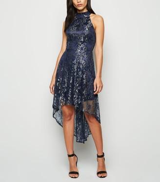 New Look Mela Metallic Lace Dip Hem Dress